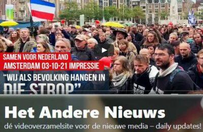 """Wij als bevolking hangen in die strop"""" – A'dam demo 'Samen voor NL' 03-10-21 Impressie"""