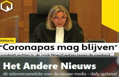 """""""Coronapas mag blijven""""oordeelt rechter in de zaak Maes/Lenting tegen de overheid…"""